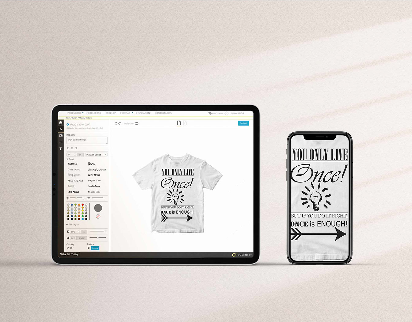 Iphone and ipad showing online tools for t-shirt design