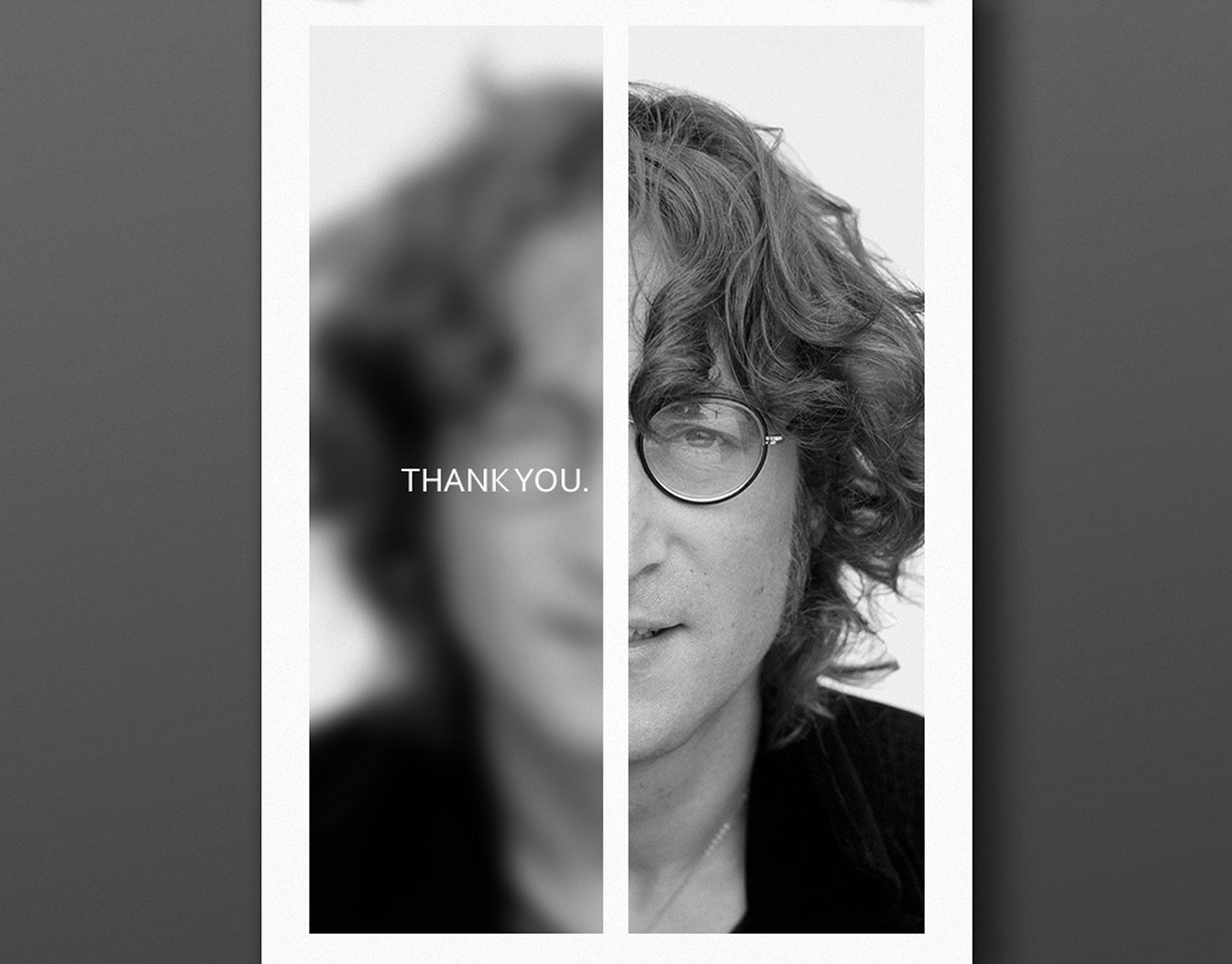 Thank you card with portrait on front