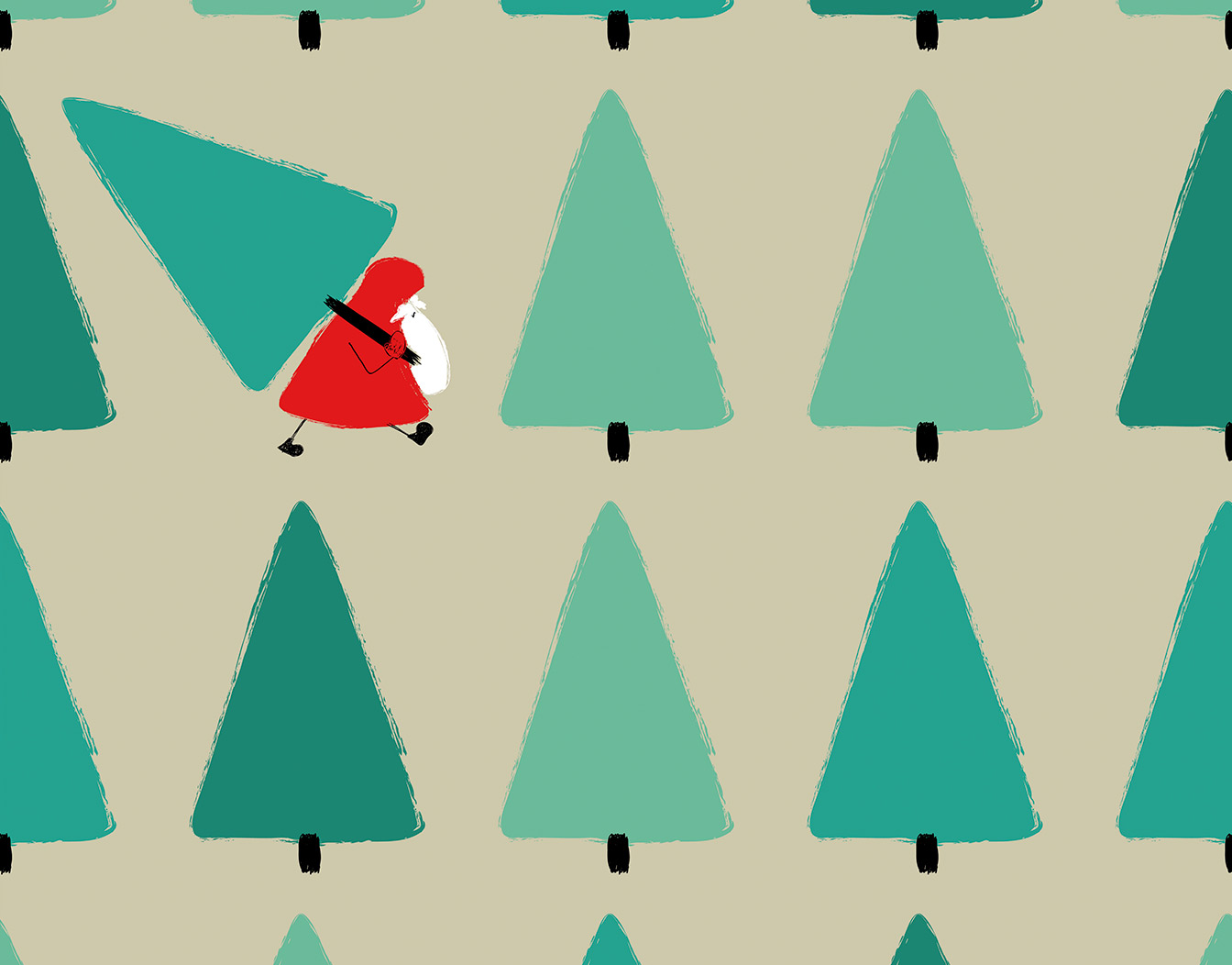 Christmas pattern with Santa carrying a Christmas tree.