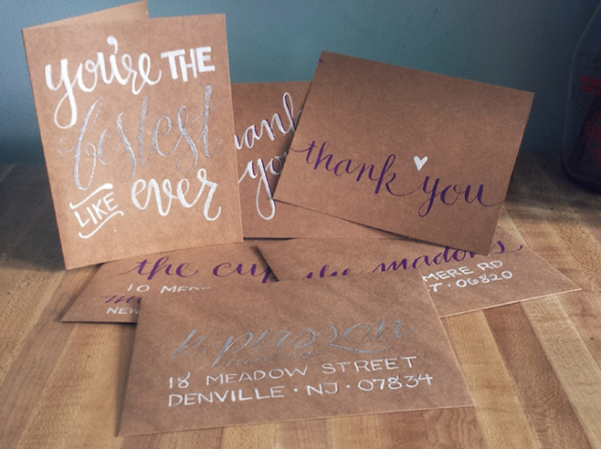 Various thank you cards made of kraft paper.