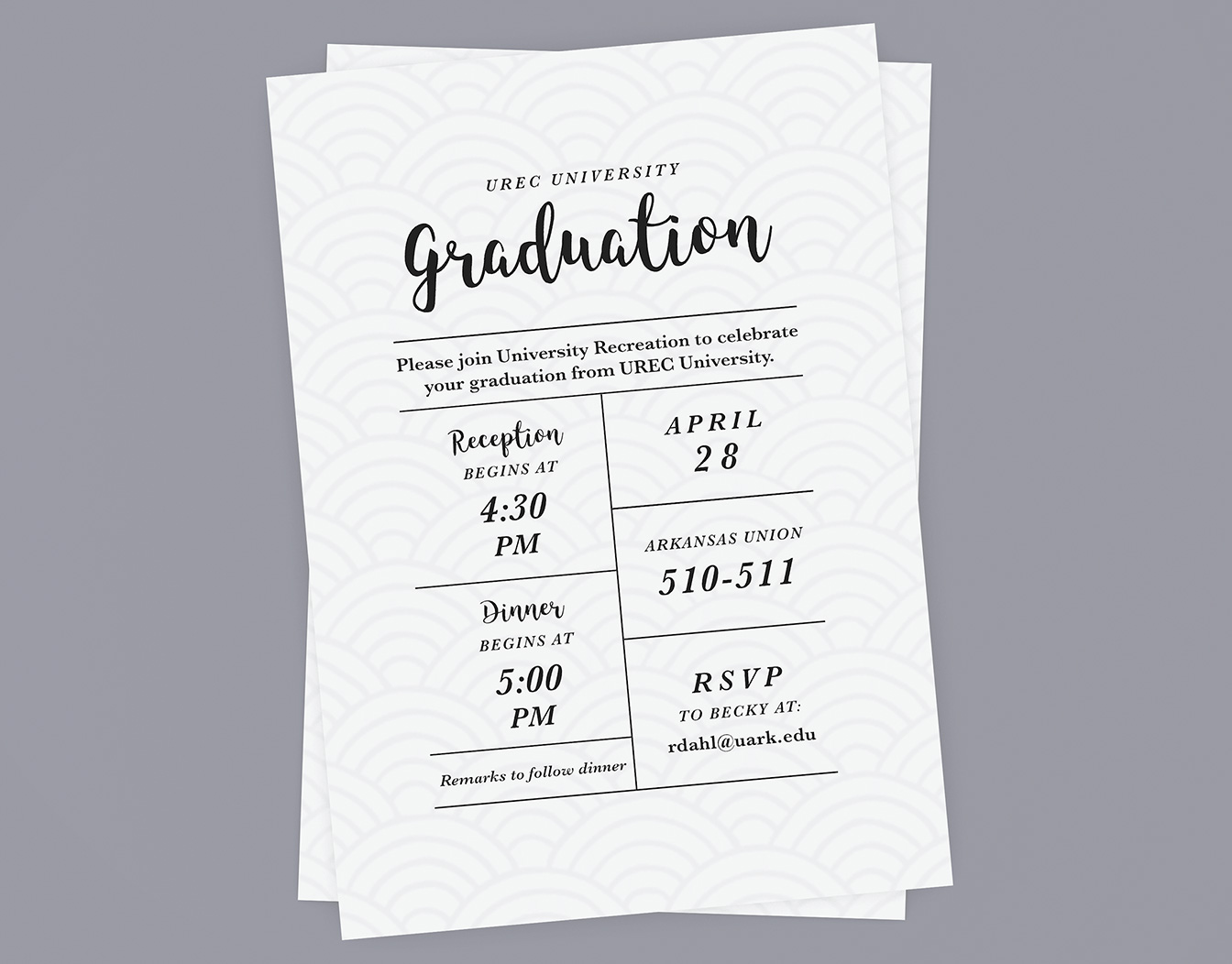Simple graduation cards in black and white