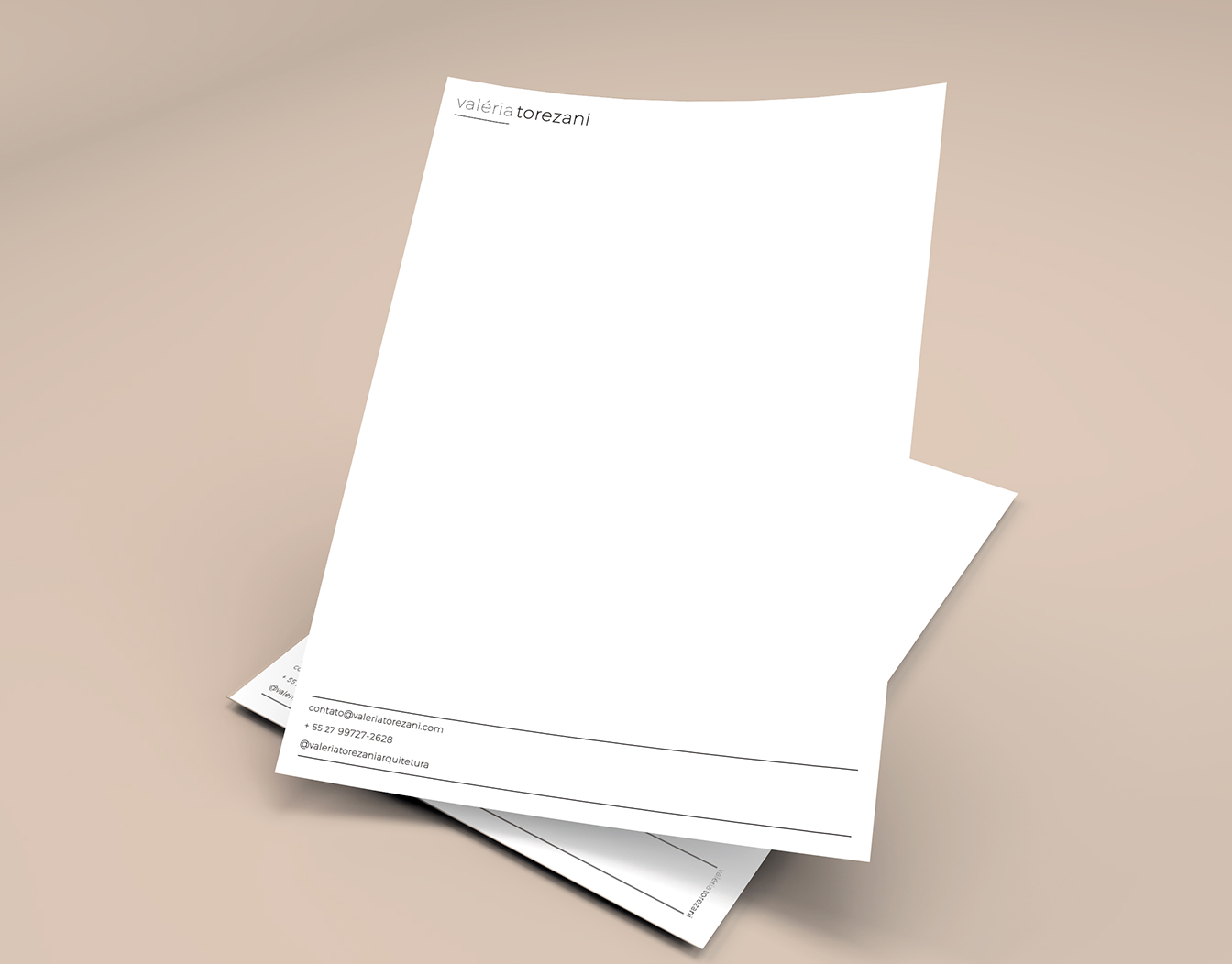Two sheets of white letterhead
