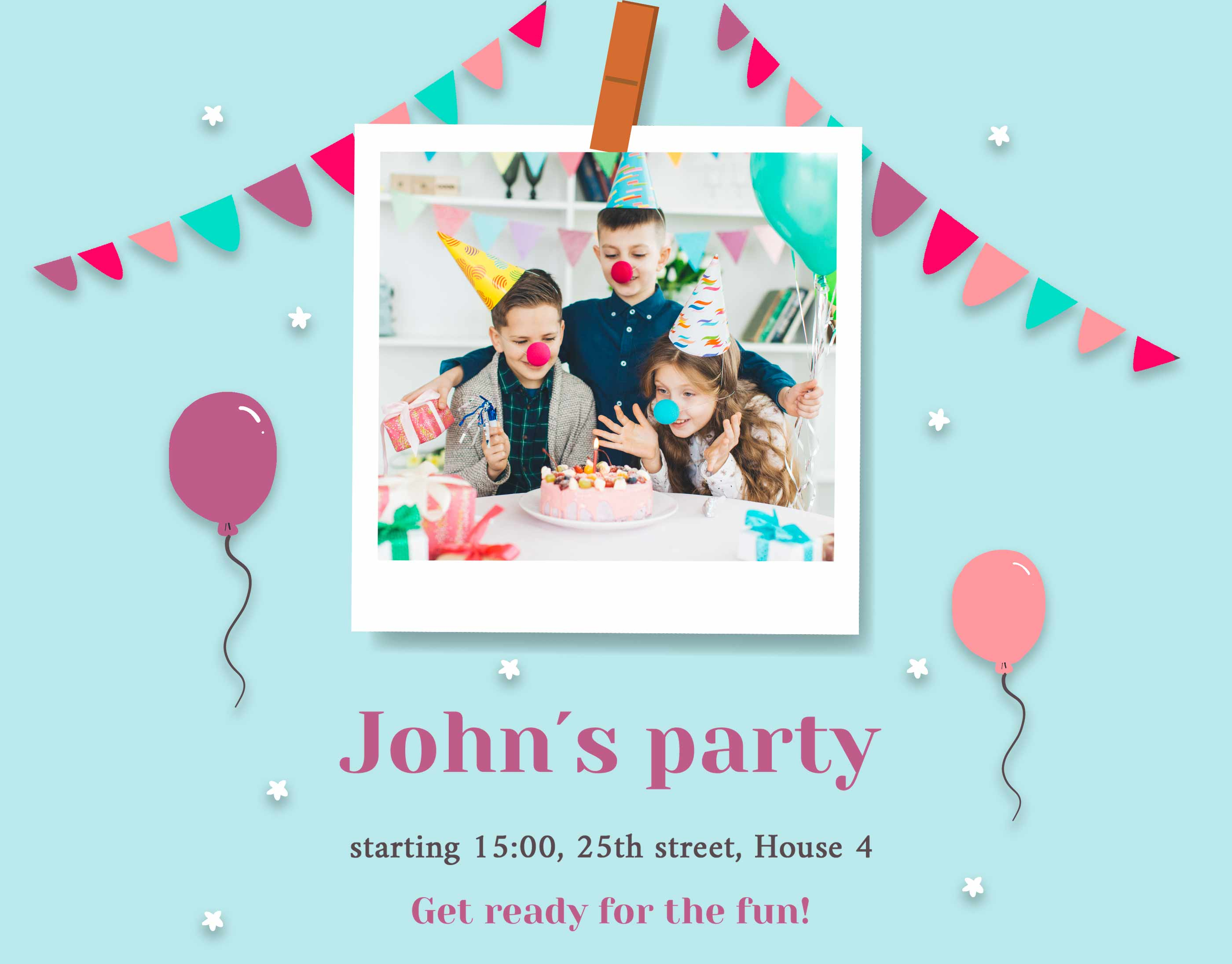 kids' party invitation with polaroid photo