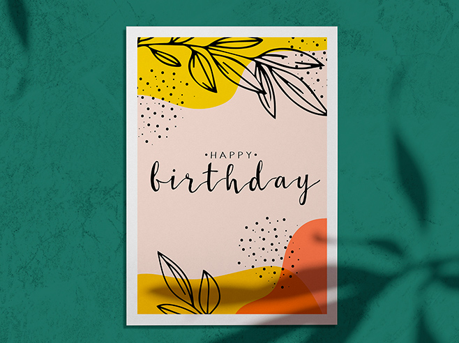 Birthday invitation card on green background