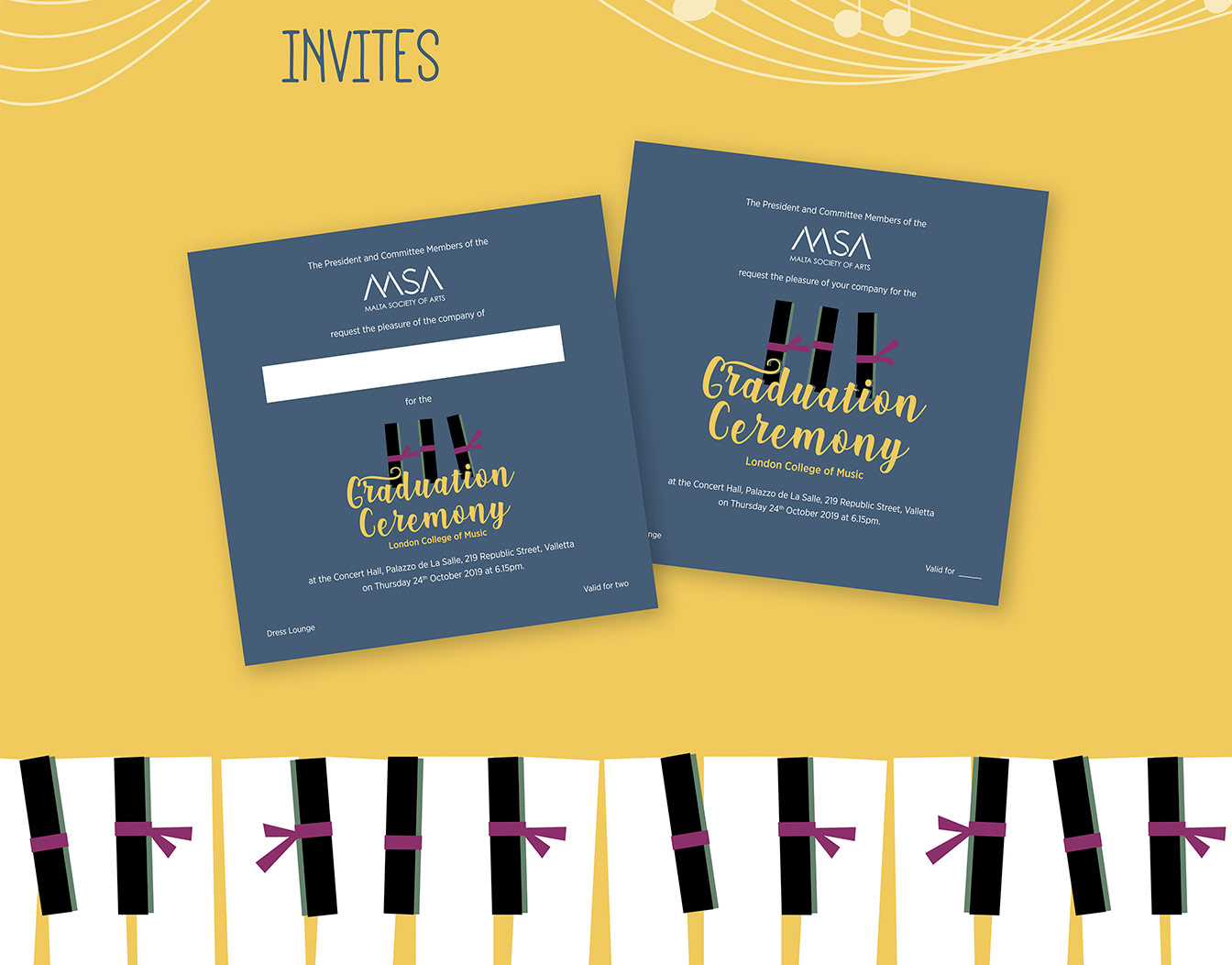 Graduation invites on blue cards with piano theme