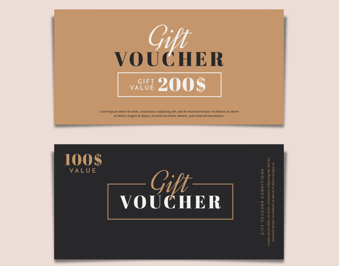 Two matching gift vouchers with discount offer
