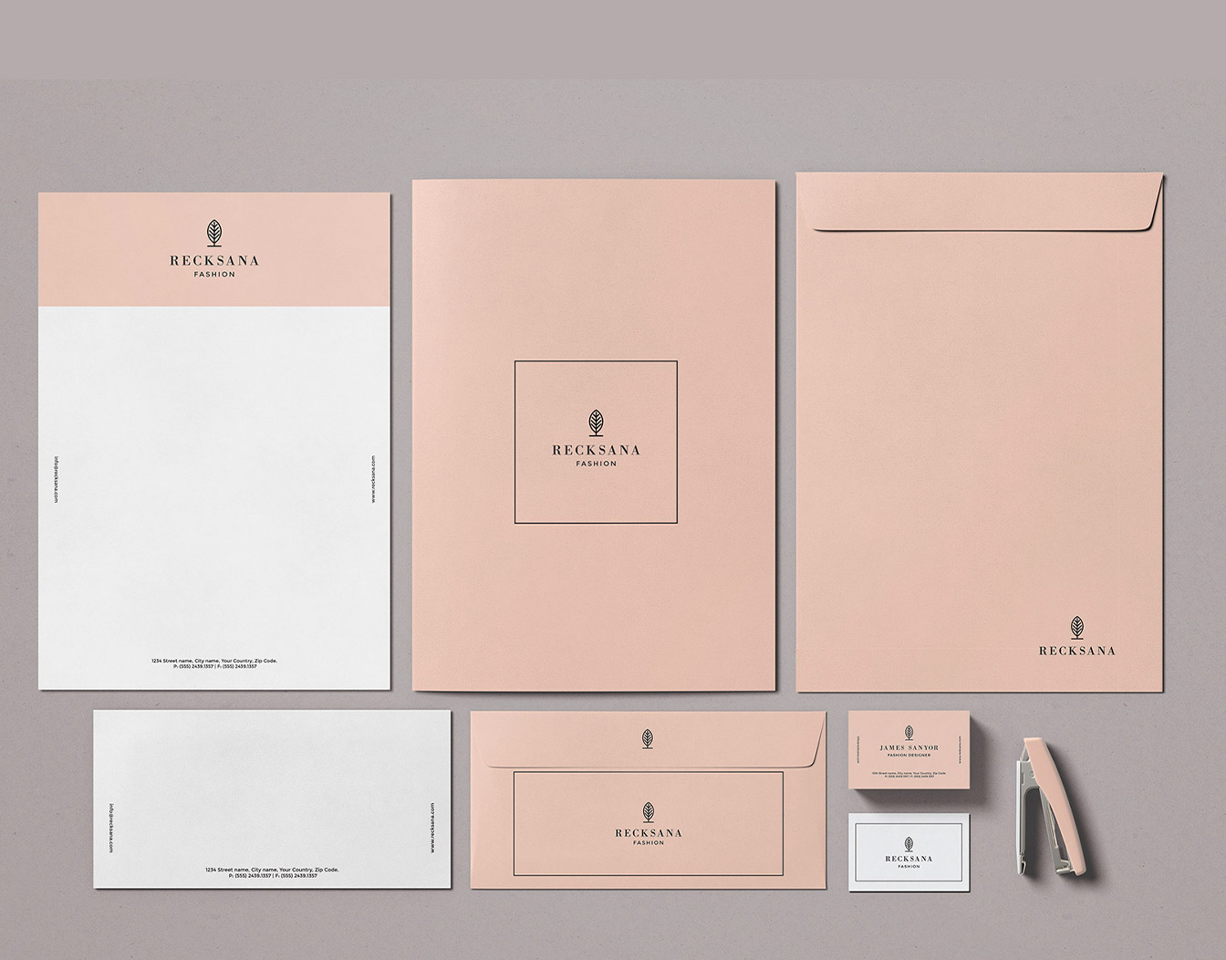 Set of matching stationary in beige
