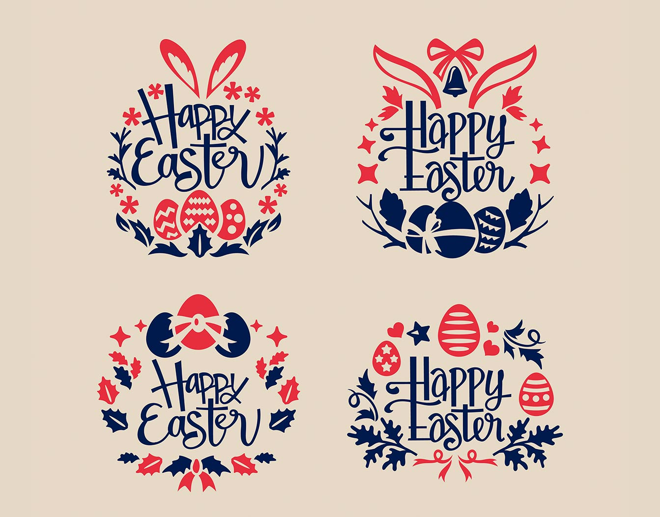 Four Happy Easter vintage patterns