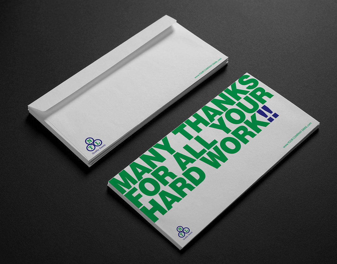 Plain envelopes with slogan