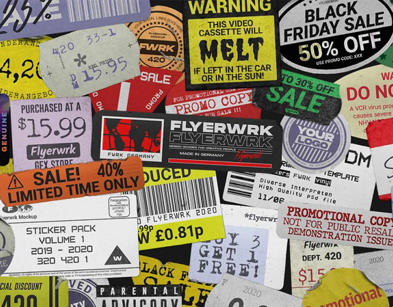A collage of mixed colorful labels