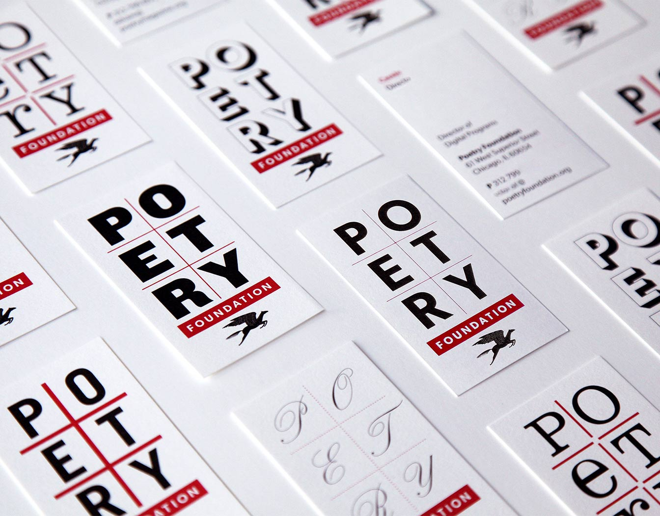 poetry event cards laid out in pattern