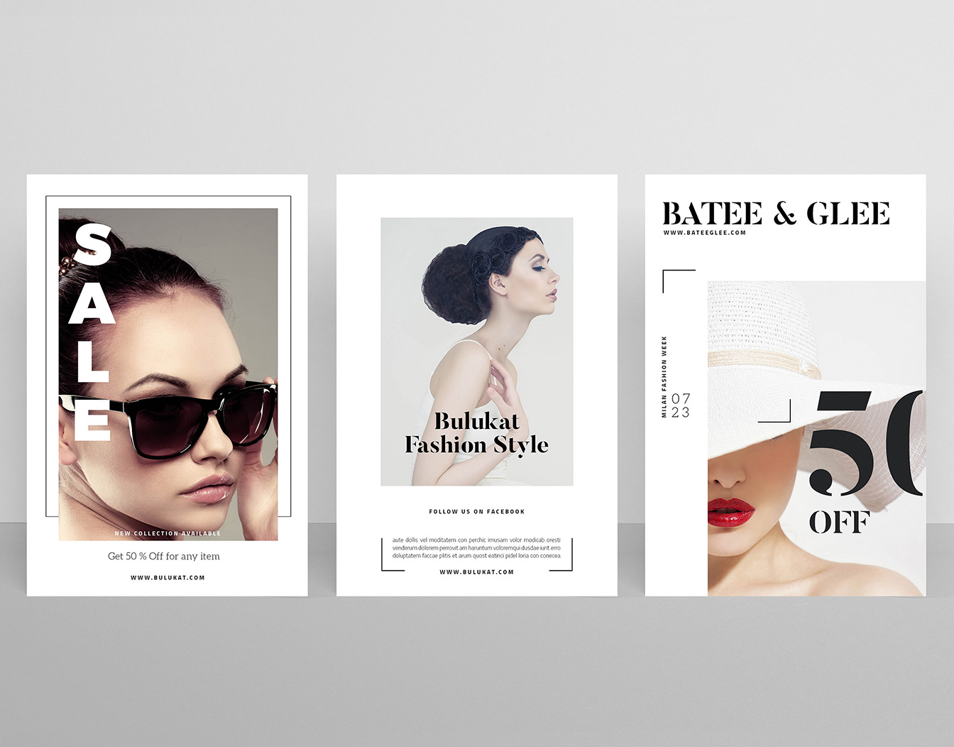 Three flyers with fashion photo