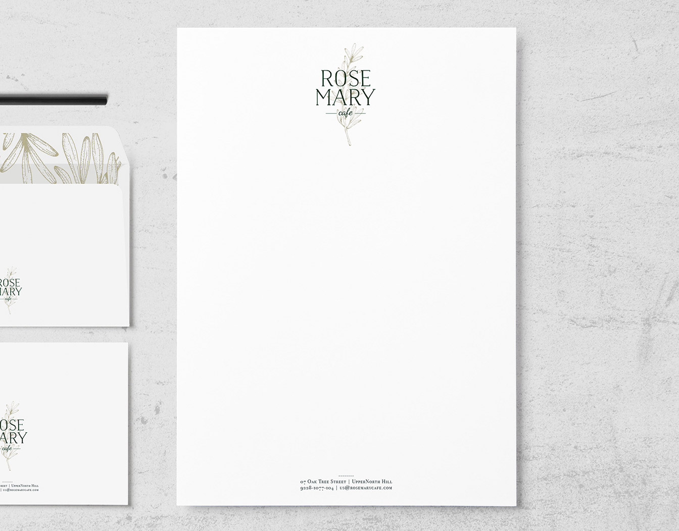 White letterhead with two envelopes