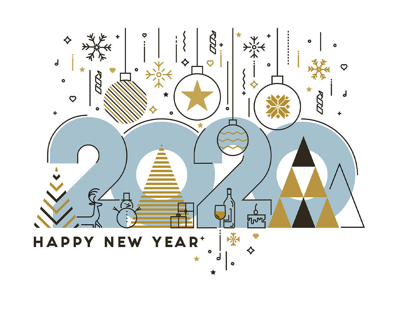 2020 new year card. Detail
