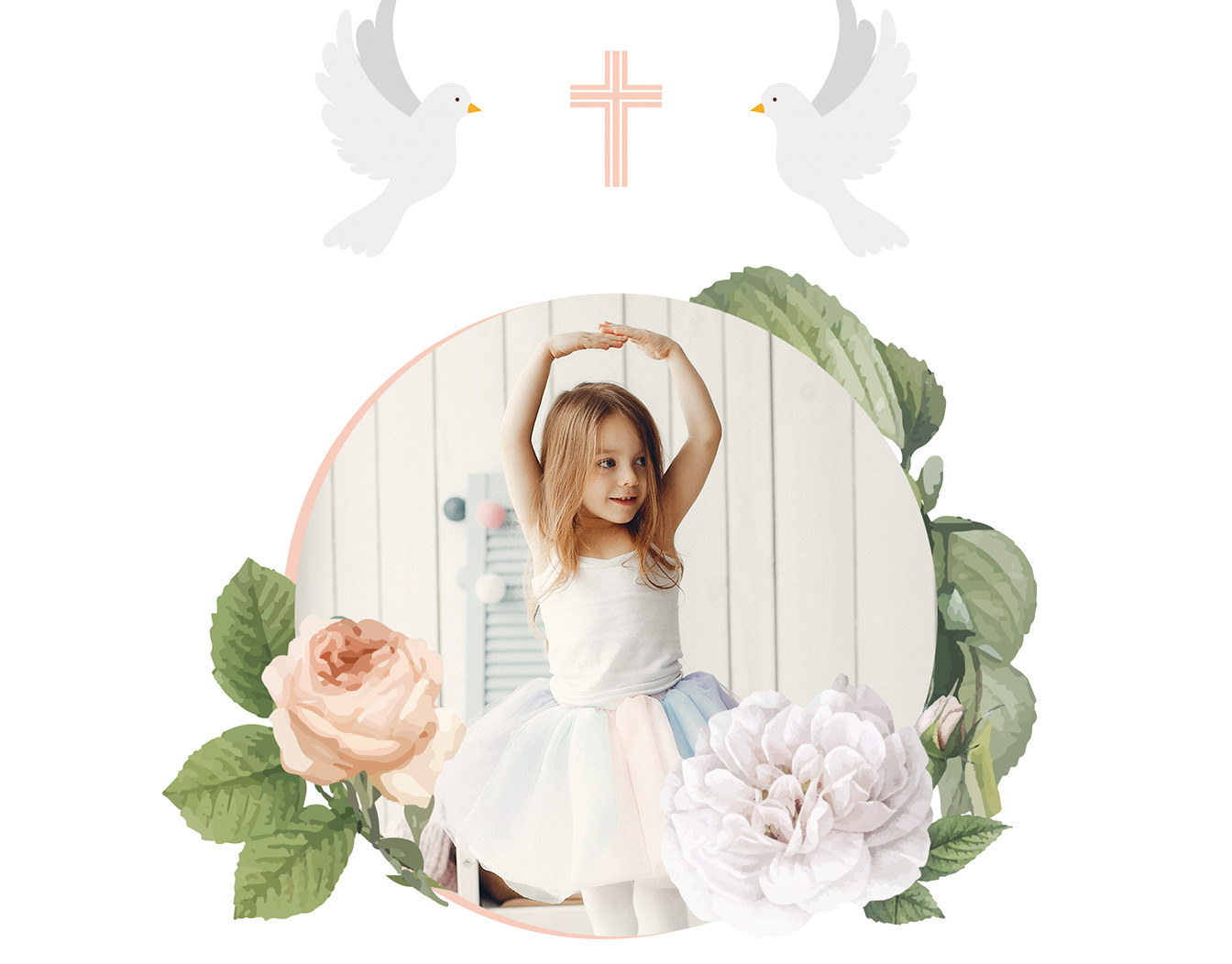 First communion card with uploaded photo