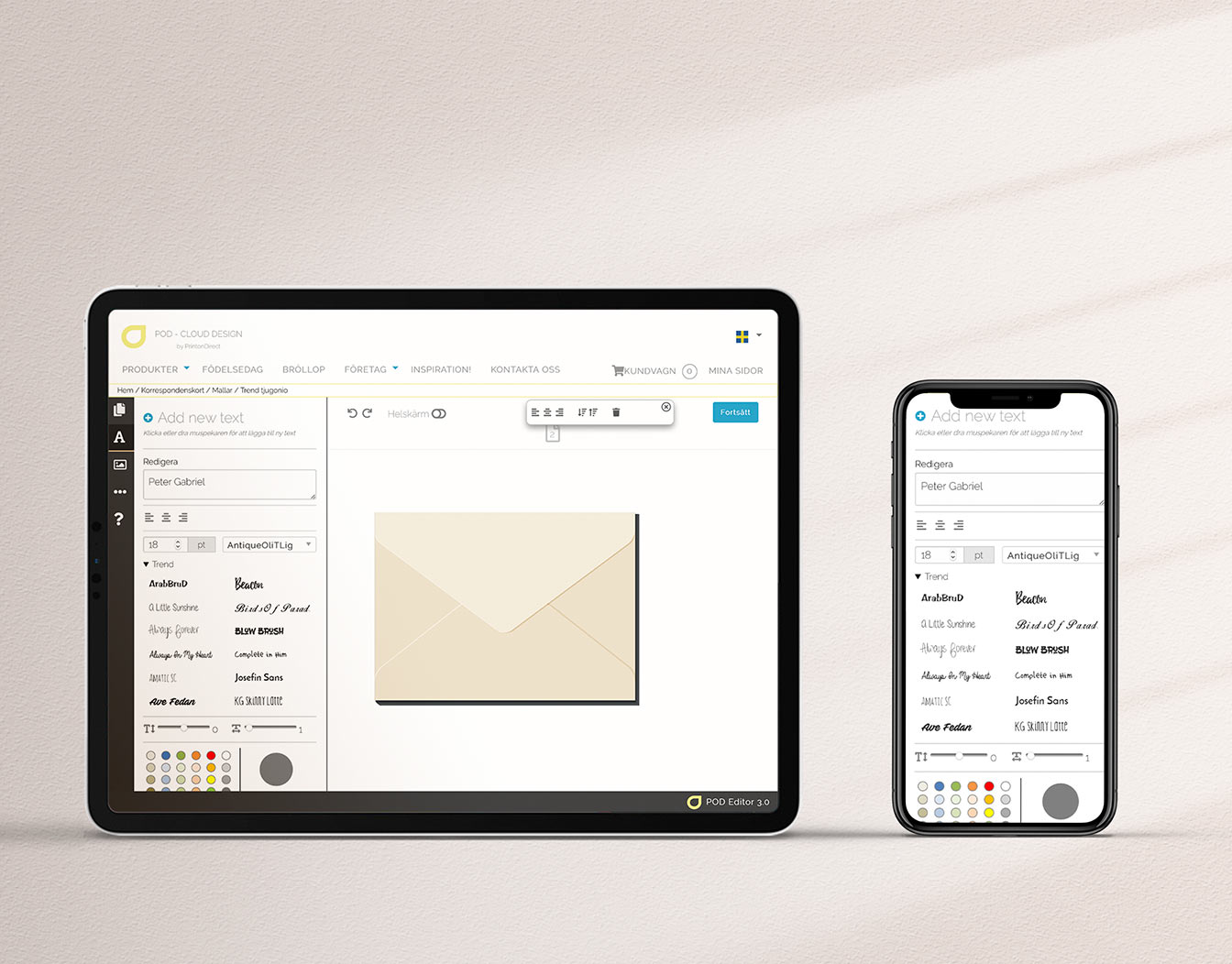 Ipad and iphone with online templates for customized envelopes