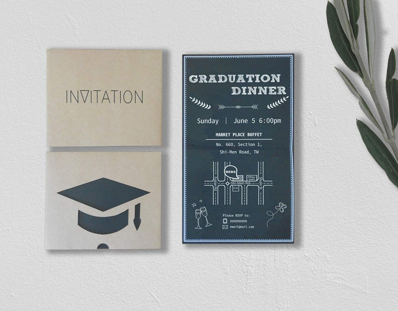 Set of graduation invitation cards