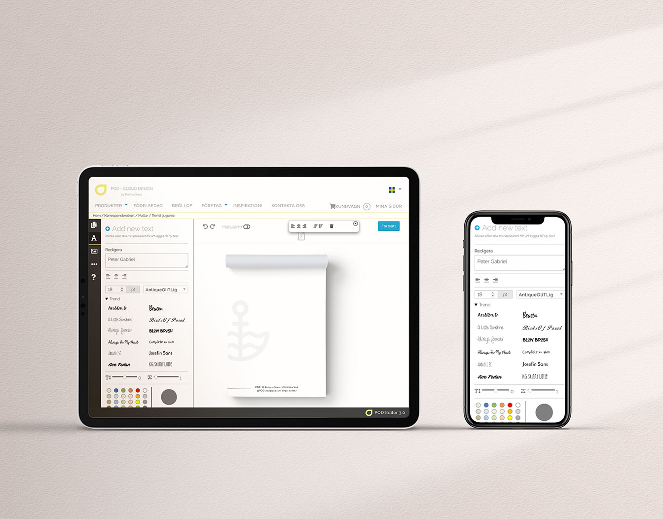Iphone and ipad with online design tools for notepads