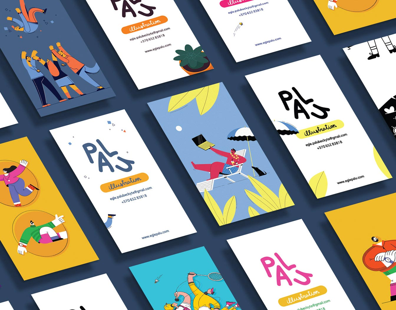 Colorful business cards in pattern.