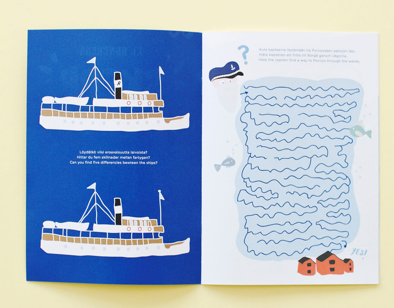 Sample of folded kids' party invitation with boat and maze.