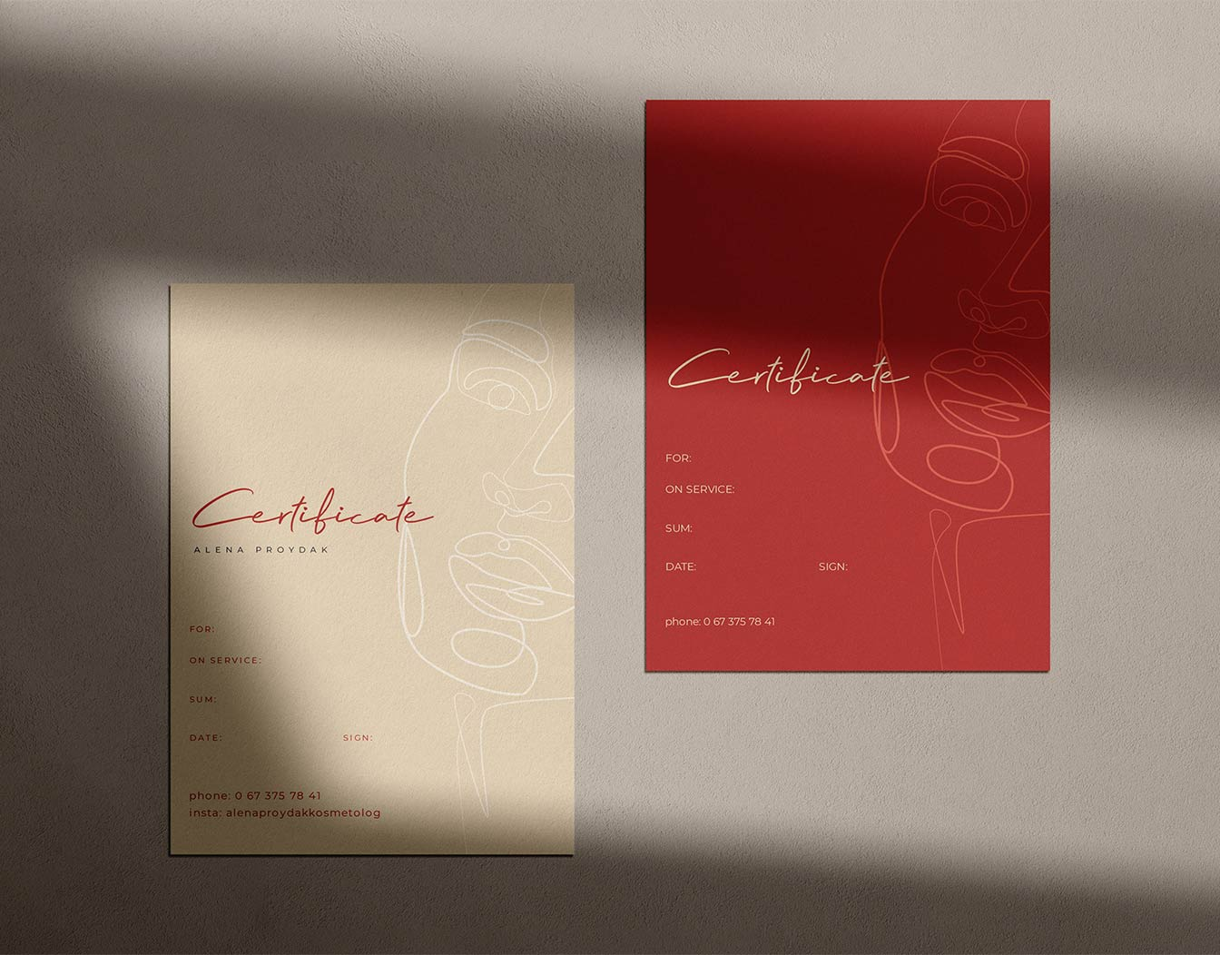 Two elegant gift vouchers in red and sand
