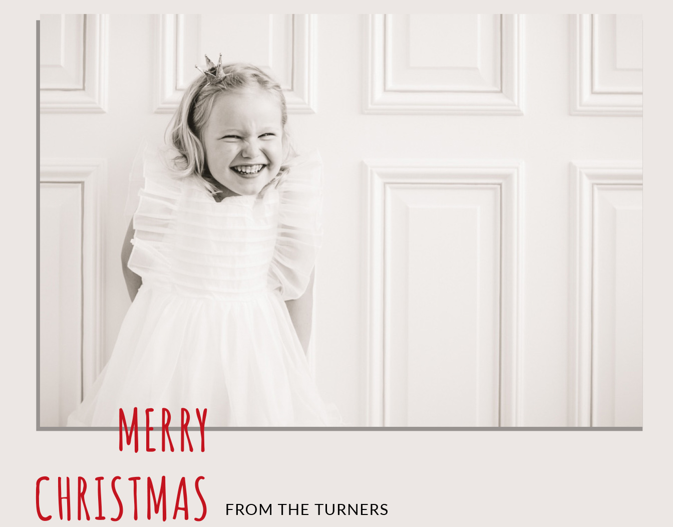 White Christmas card with uploaded kid's photo