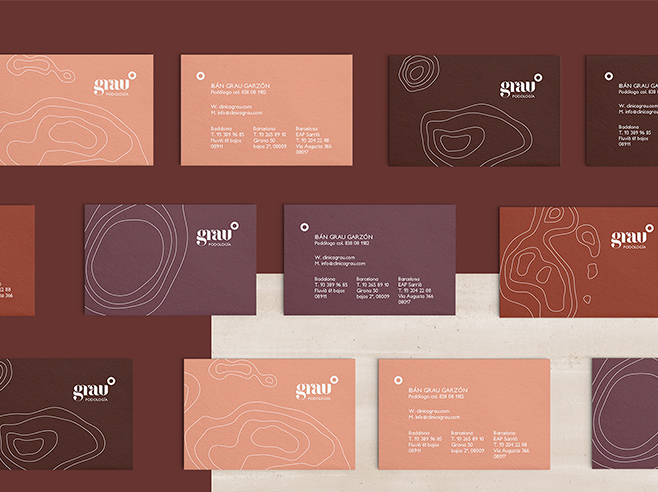Business card setting with brownish business cards in rows