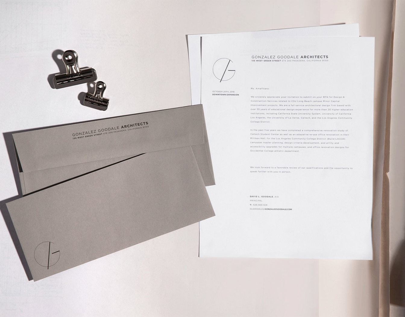 Two stylish A65 envelopes and corresponding letterhead
