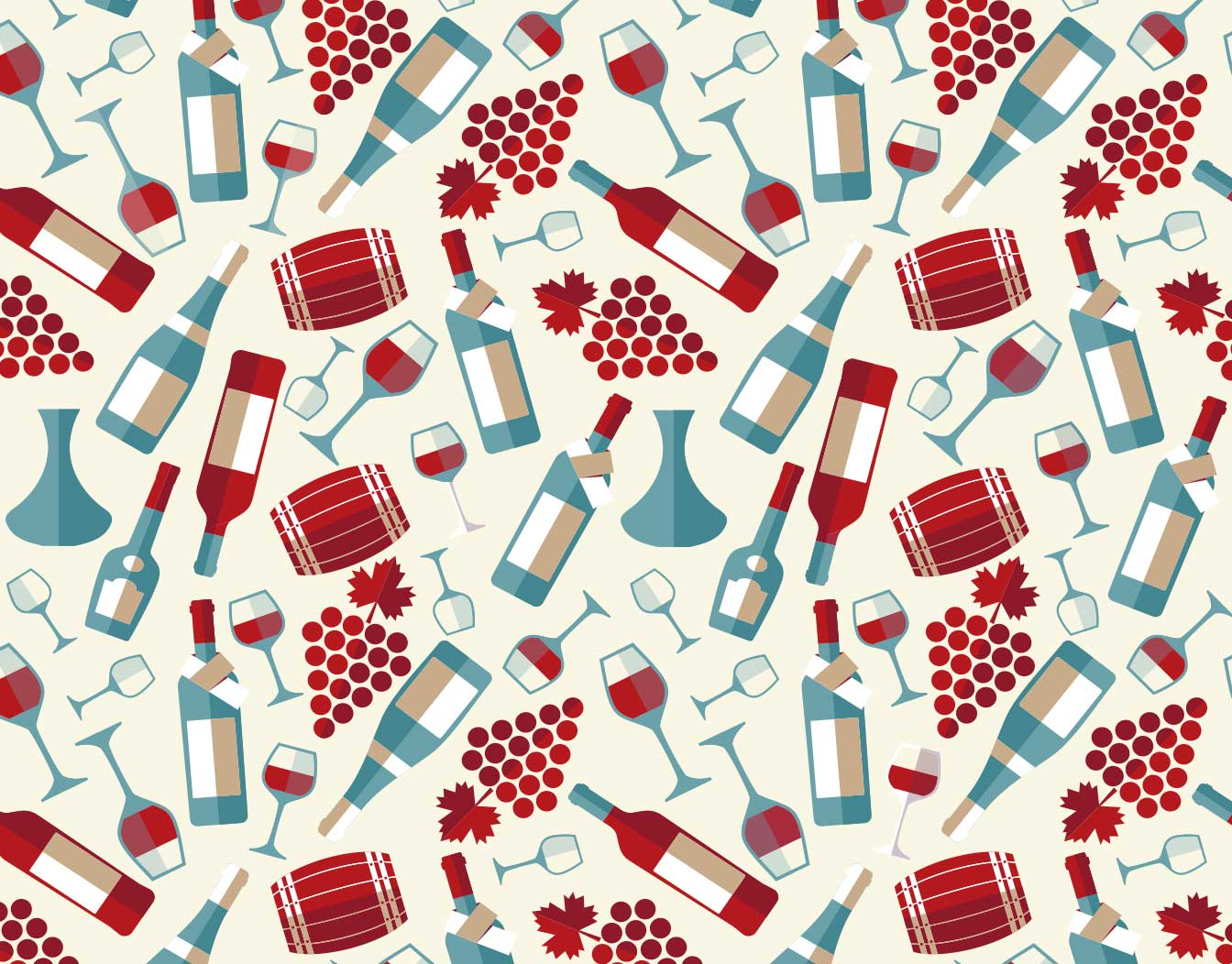 New year card background with bottles and grapes