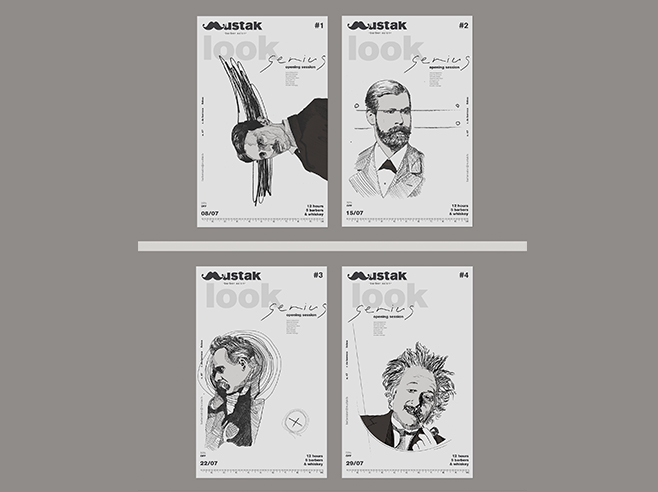Four white flyers with hand drawn famous persons on front