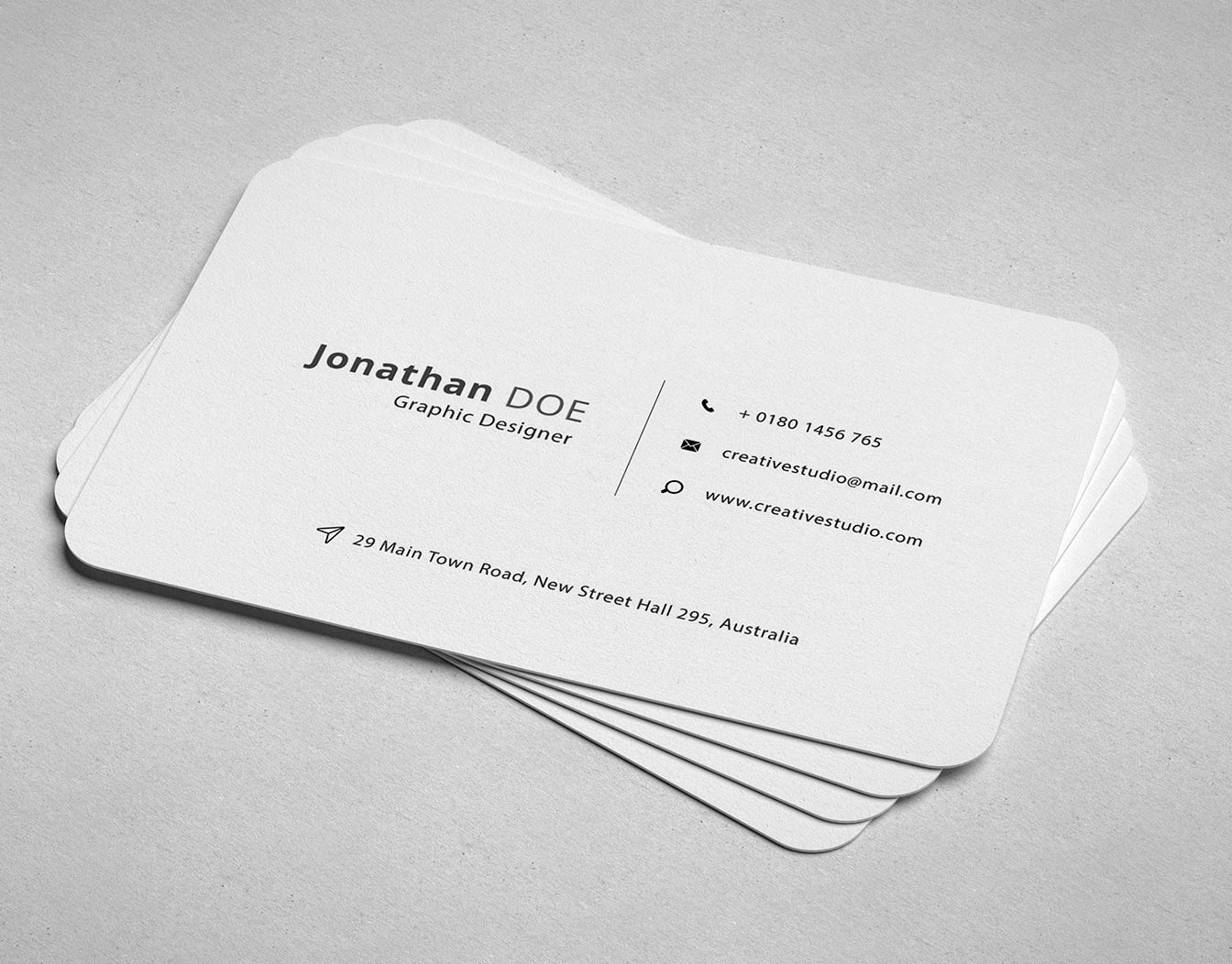 White formal business cards with rounded corners
