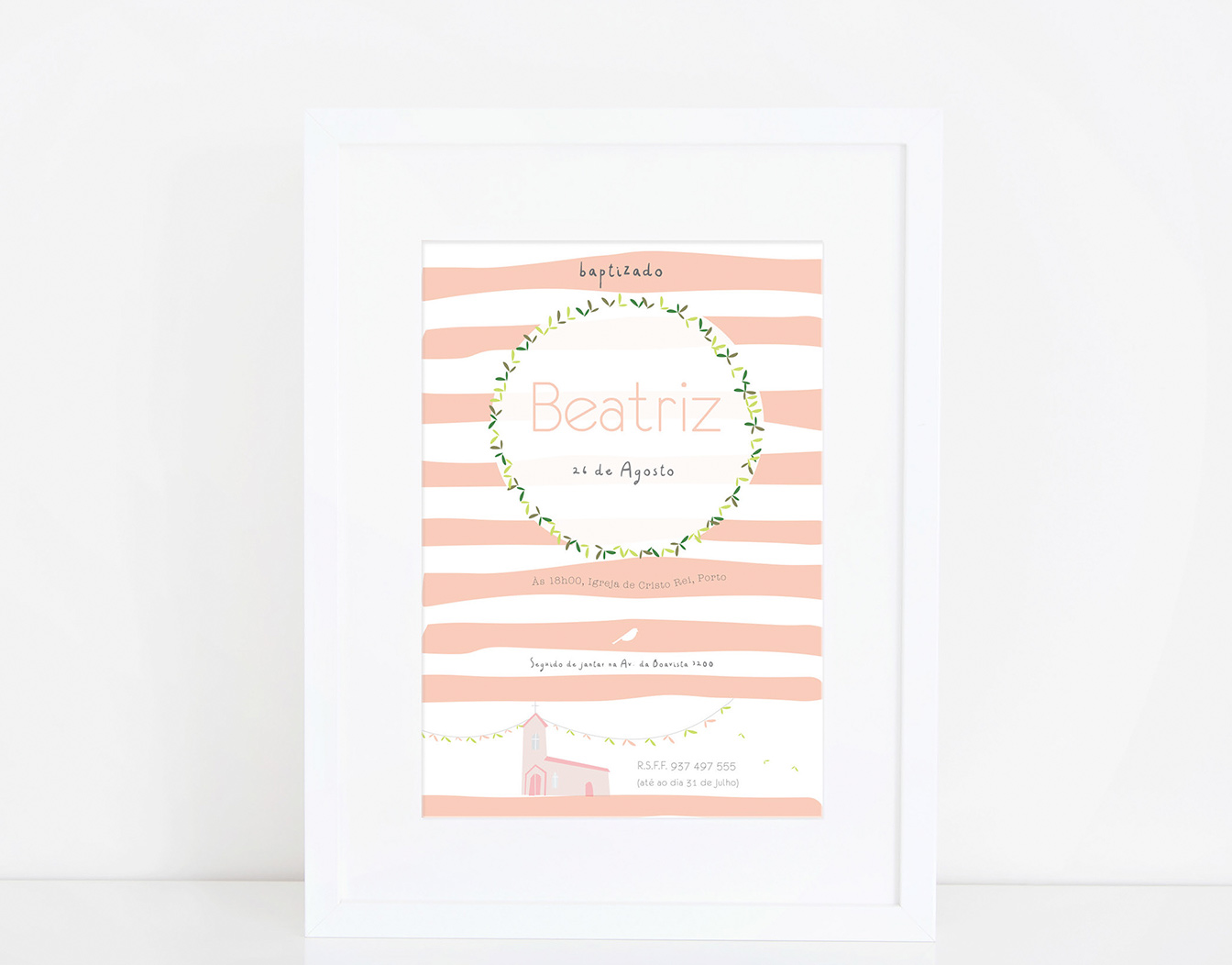 Kids' party invitation framed with white background.