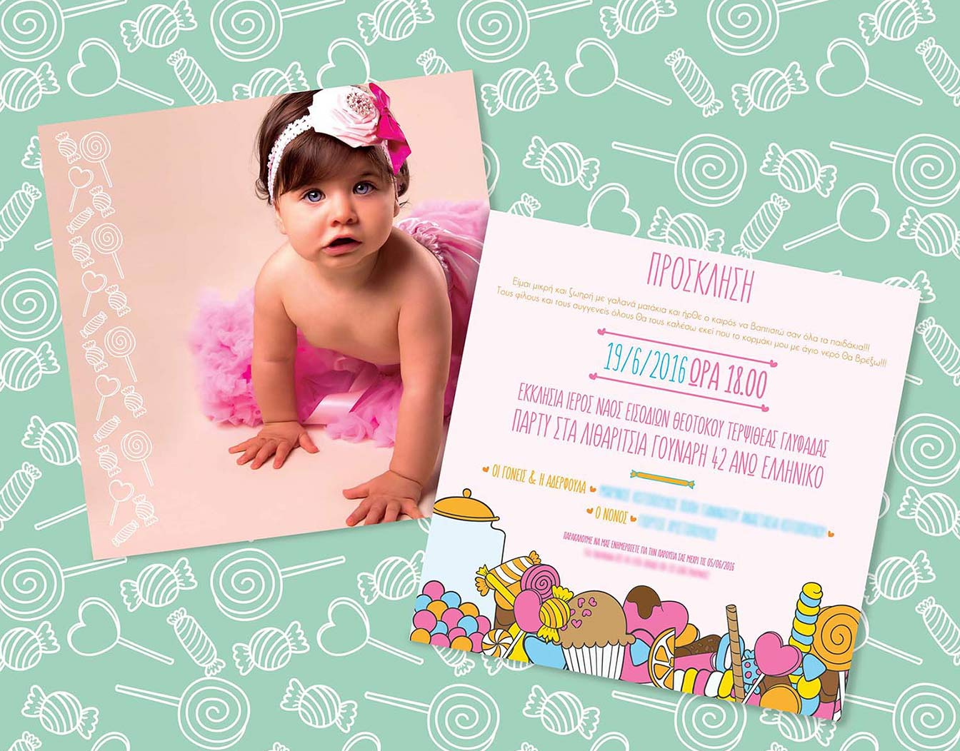 Kids' party invitation, double sided with baby photo upload