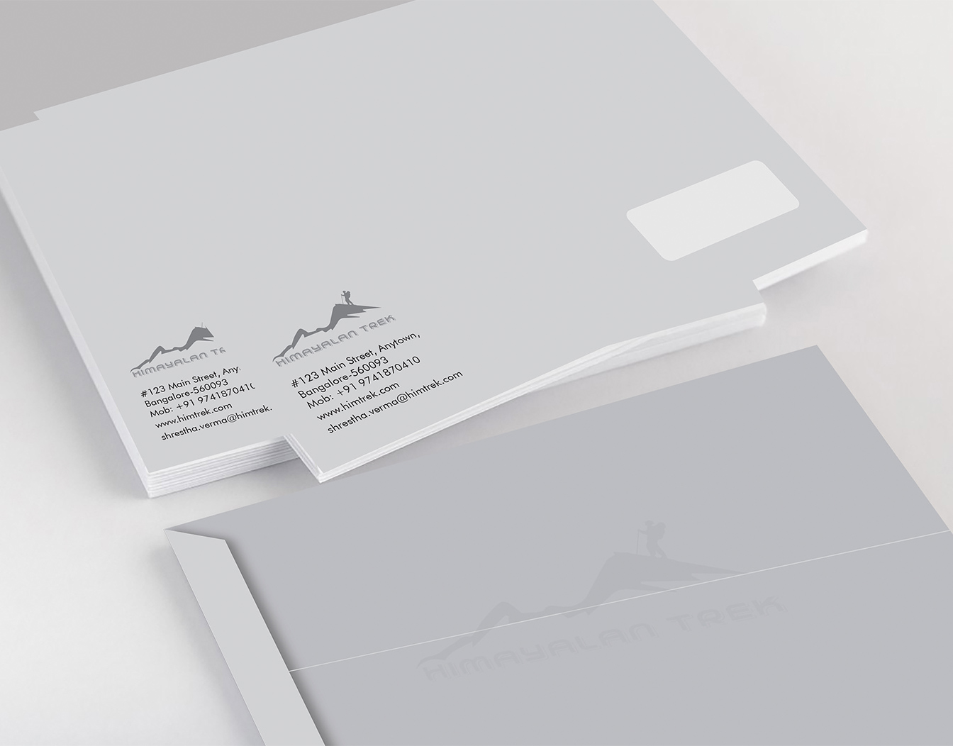 Grey custom business envelopes with windows