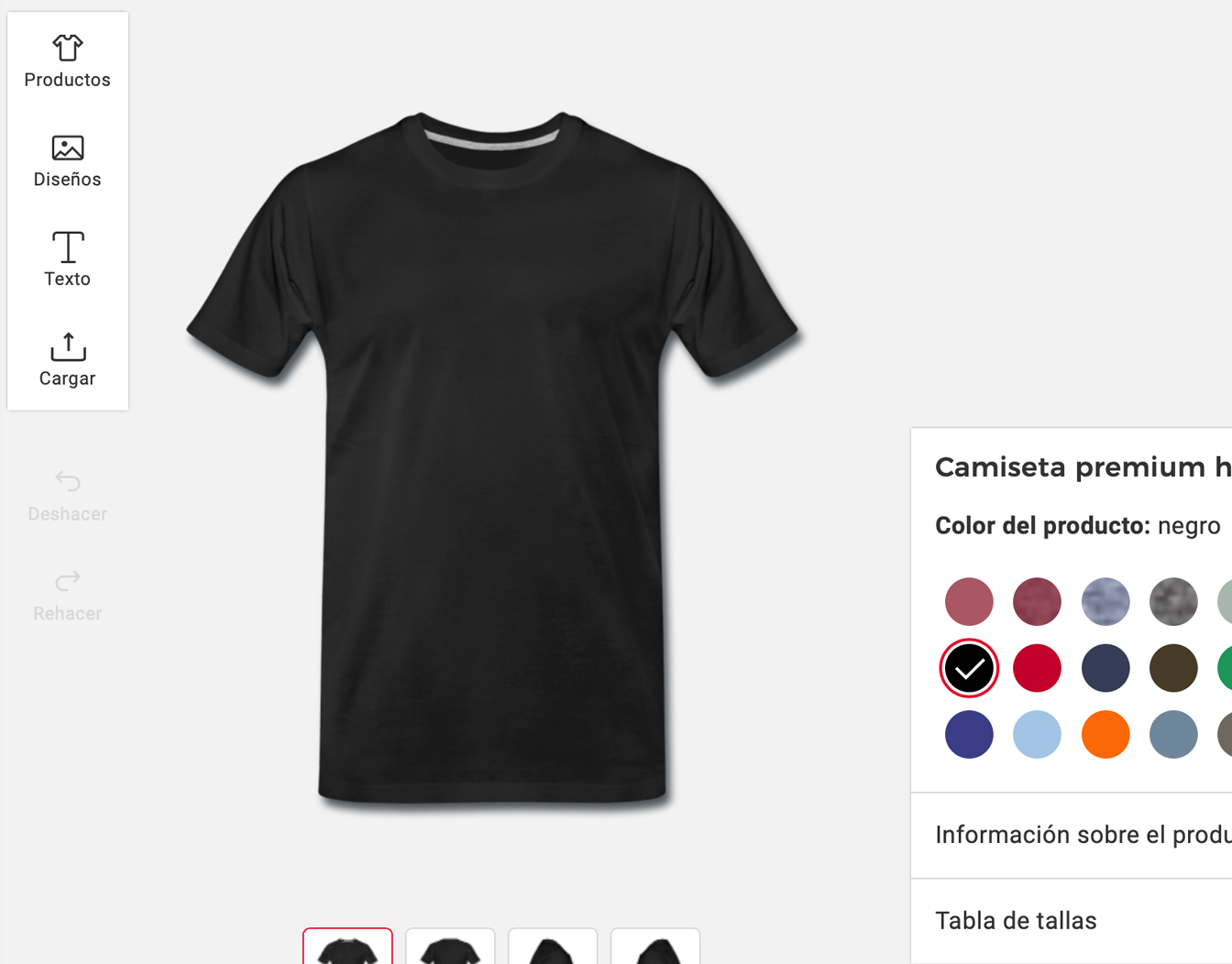 Example of interface create your own tshirt