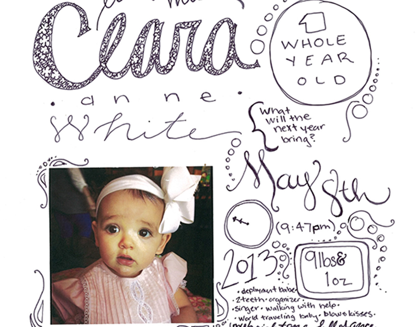 Baby birthday invitation with photo and handwritten text
