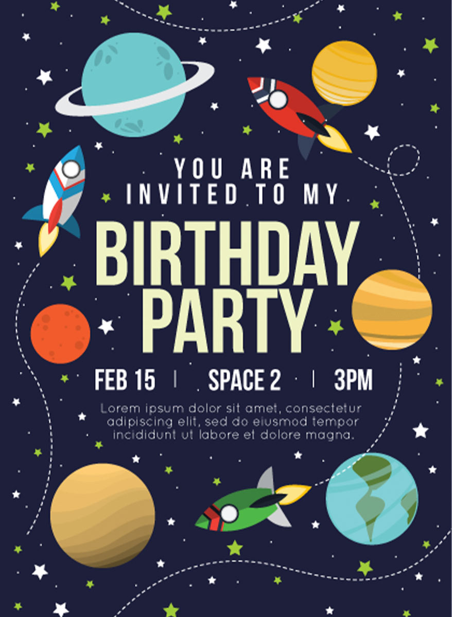 Children's party invitation with a monster theme