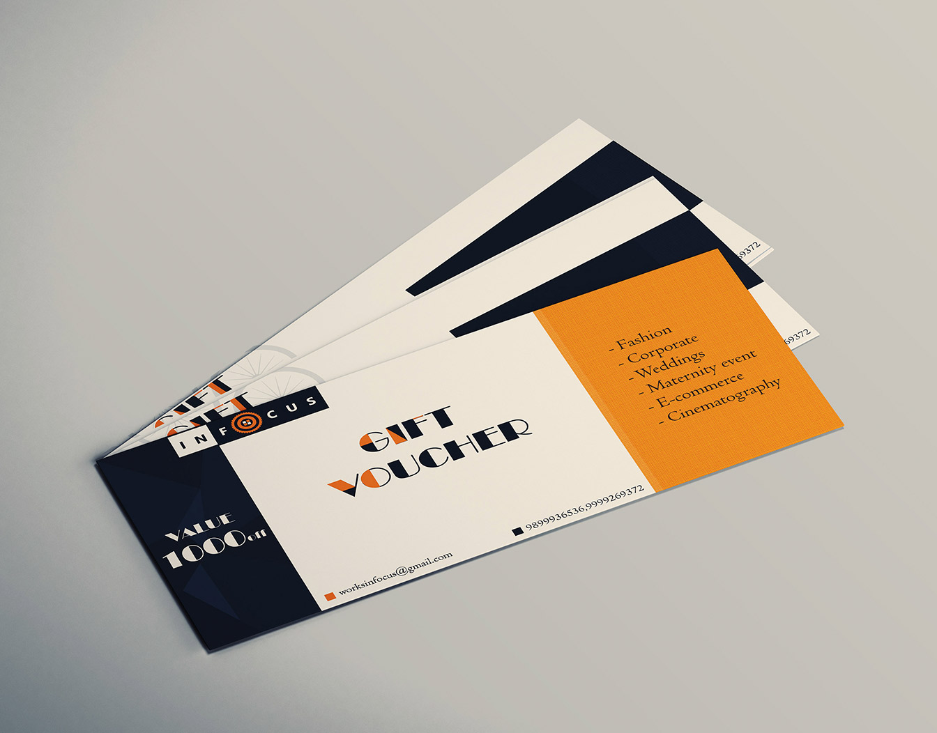 Sample of gift cards