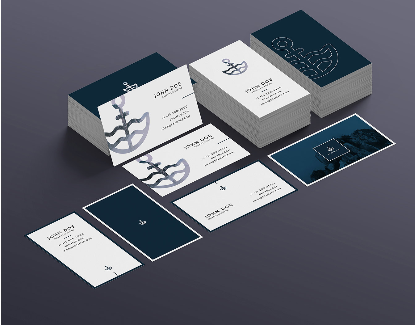 Stacked business cards with watermark