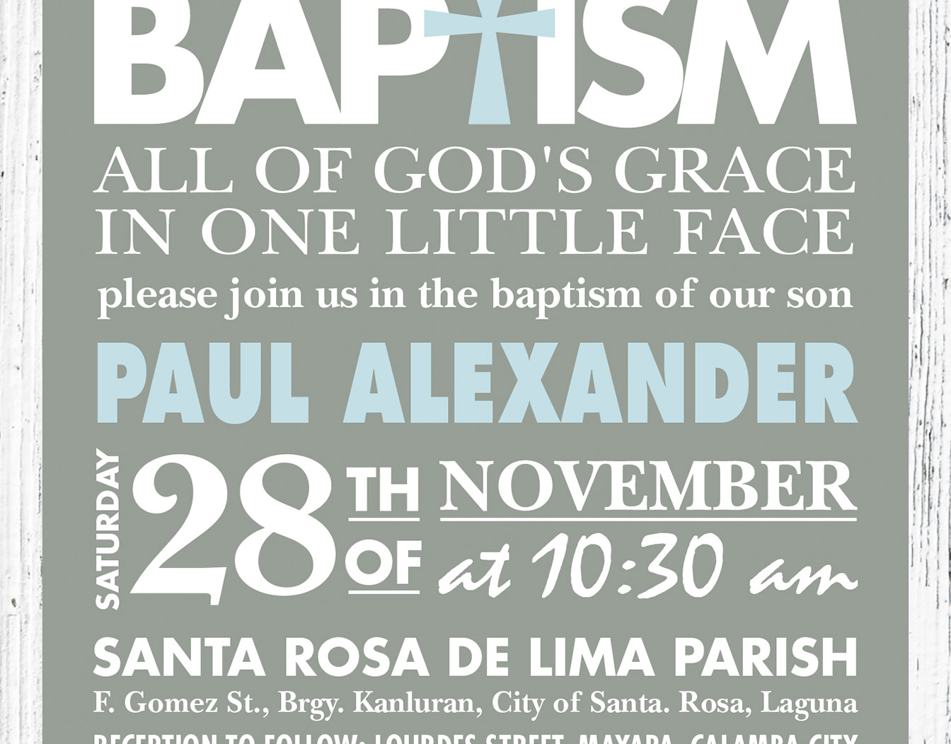 Greenish baptism invitation with dense text