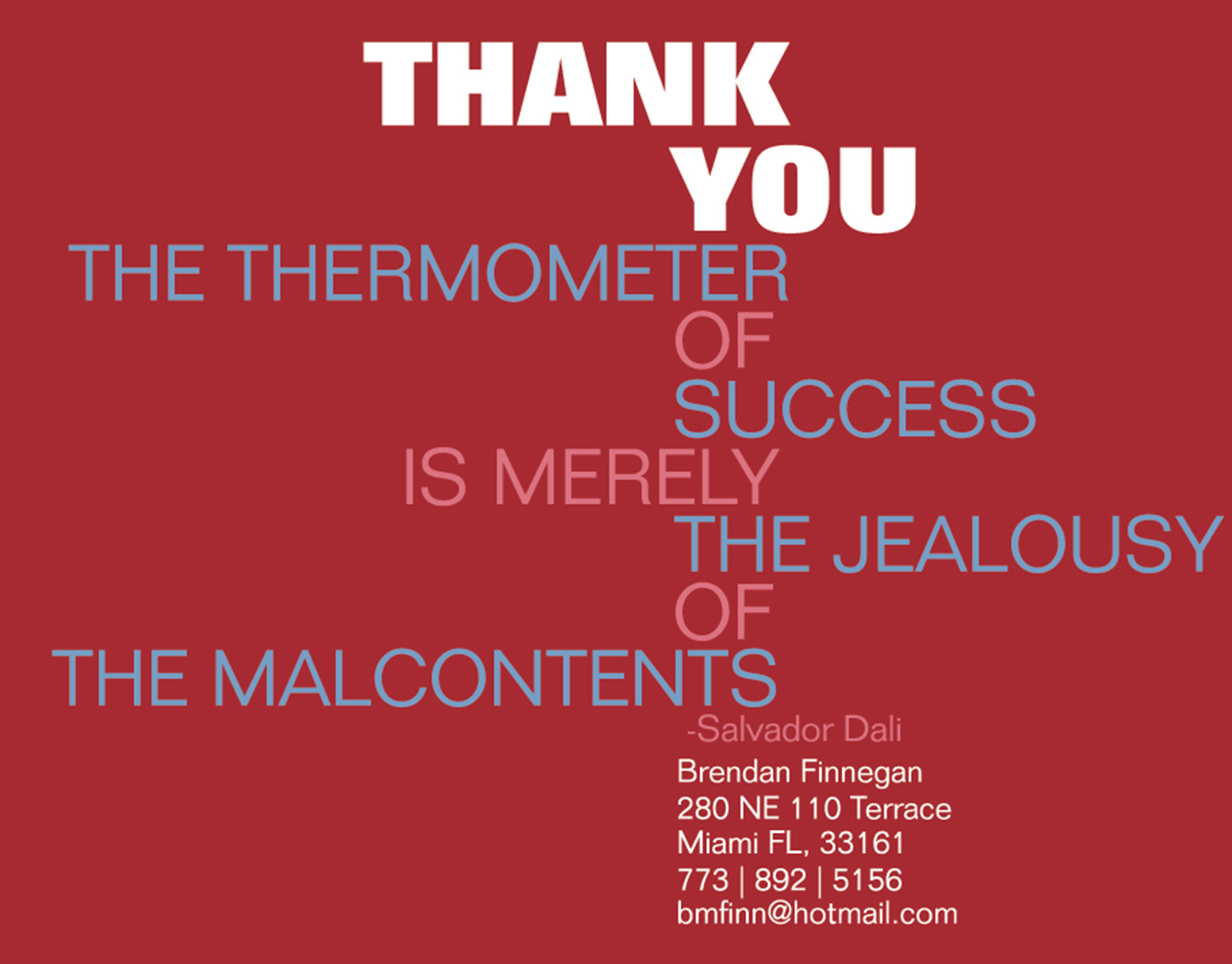 Red thank you card with text only