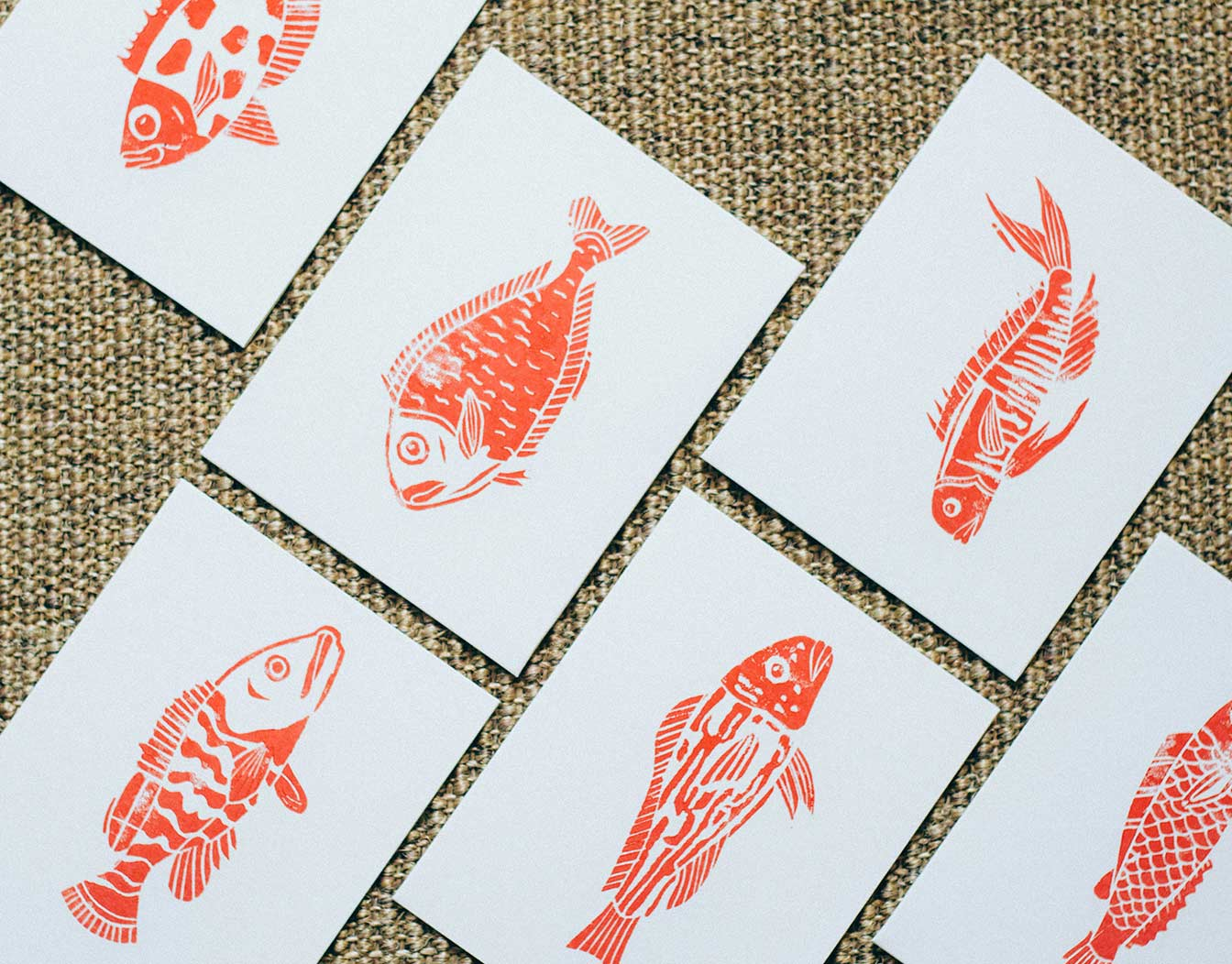Event cards with fish vector