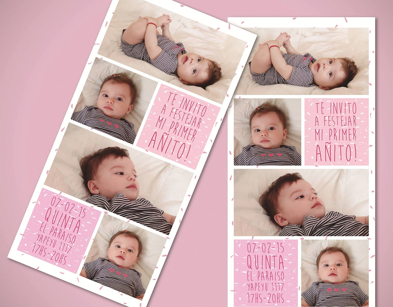 Birthday invitation card with baby passport photos