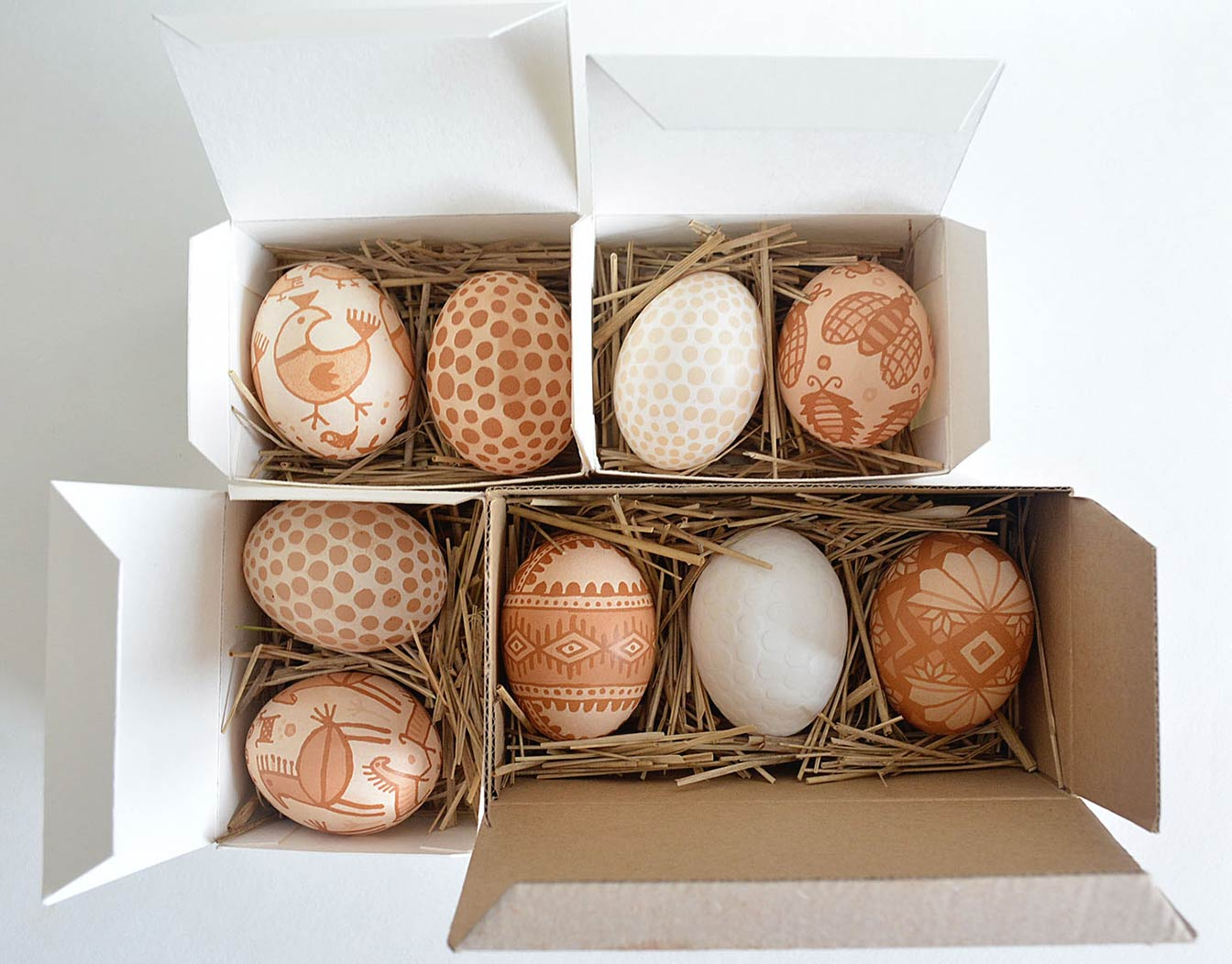 Hand painted Easter eggs in packaging