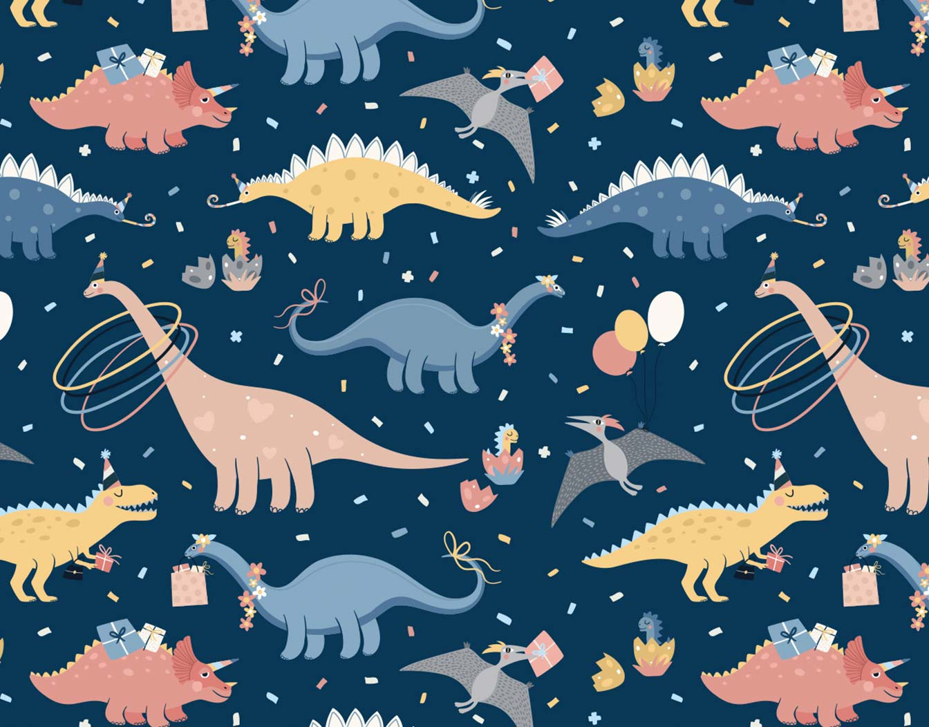 Dinosarious pattern for kids' birthday party.