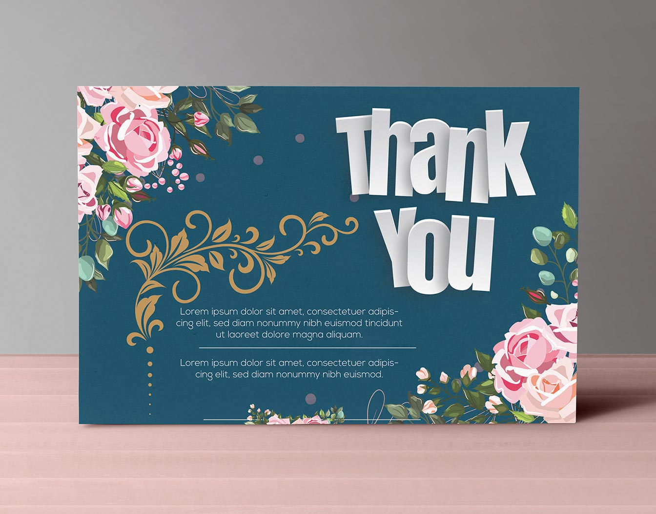 Blue Thank you card with flowers