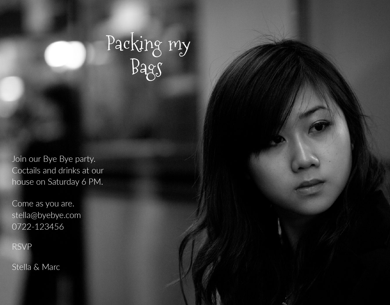 Asian girl representing black and white invitation