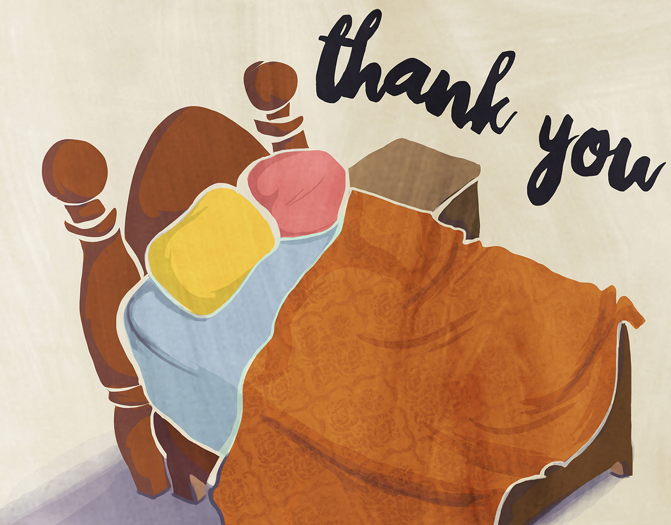 Hand painted Thank you card with bed