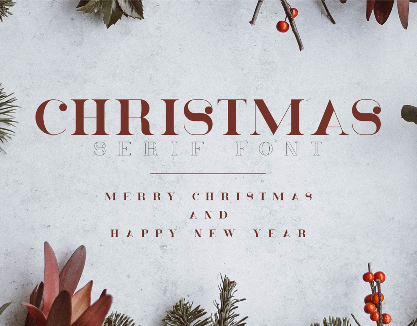 Christmas greeting written with vintage typeface