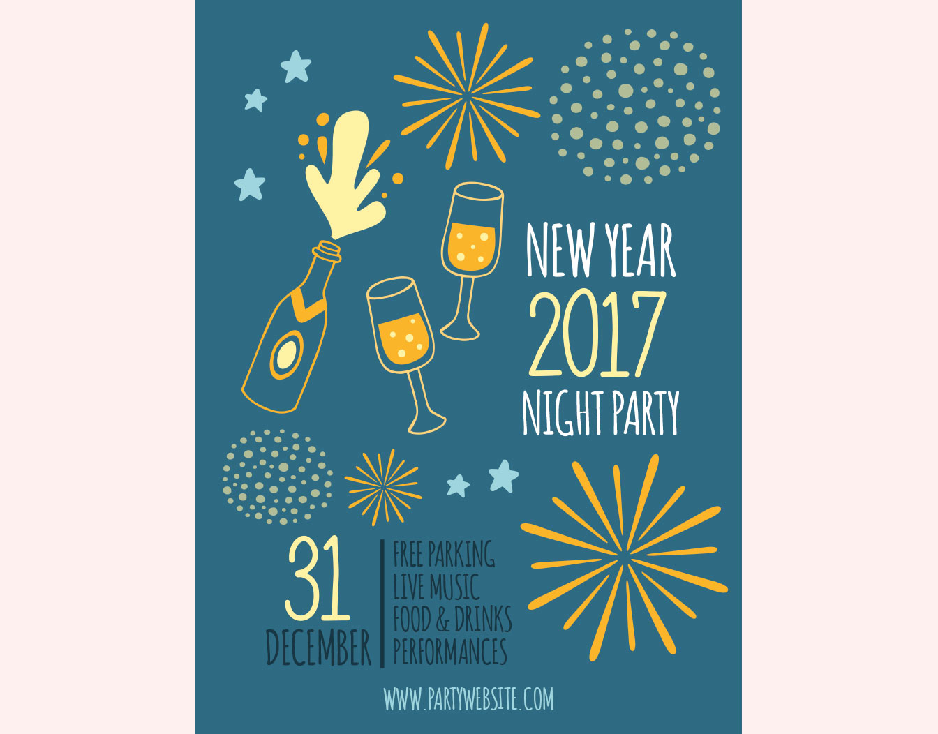 Blue new year card with champagne and fire crackers